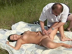 Horny Teen Is Fucked By An Old Man Outdoors