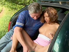 Horny Teen's Fucked By An Old Man In The Back Of A Car