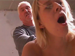 Blonde Teen Gives An Old Man Head Until Her Cums In Her Mouth