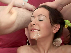 A messy Facial For A Slutty Teen After A Threesome