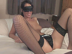 Blindfolded hottie's masturbating with various toys