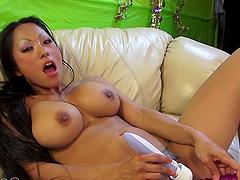 Hot Asian Strumpet with big fake tits sucks dick