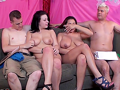 Couple of big titty whores share one hard dick