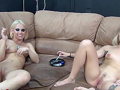 Blonde bitch rides cock like a motherfucker!