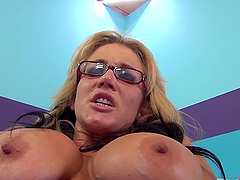 Strumpet with huge knockers gets toyed with