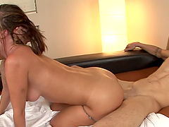 Horny slut has threesome with two dudes