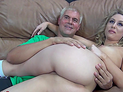 Blonde bitch sucks cock during 69 & toys with vibe