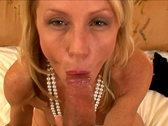 Skinny blonde moms sucking a big fat cock