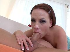 Teary eyed slut deep throats a big cock in pov