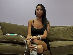 Sexy brunette's fucked and masturbated by a guy