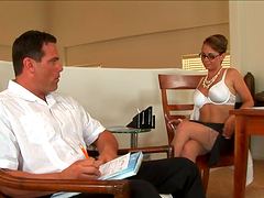 Horny babe's fucked by a guy filling up paper work