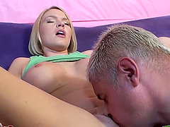 Hot pleasuring fun for a busty blonde babe