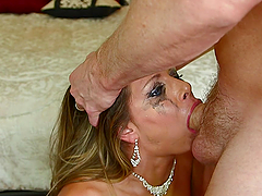A Mouthful Of Cum For A Blonde Deep Throating A Big Cock