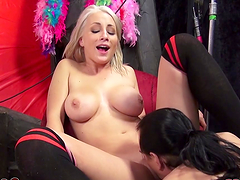 Slutty ladies suck on a big cock as well as eating one another