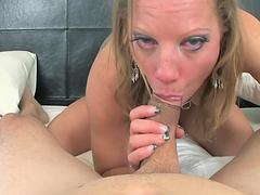 Deepthroat and gagging action in POV blowjob video