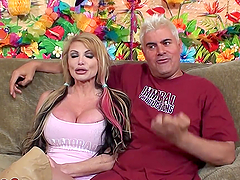 Rough sex with a slutty blonde with huge tits