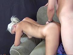 Horny blonde0s fucked hard by a horny guy