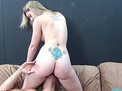 Horny blonde bitch rides hard fucking cock!