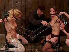 Two chicks abused in BDSM scene