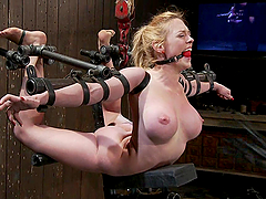 Nipple clamps torture for blonde in extreme bondage situation
