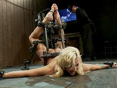 Bondage scene with blonde fucking slut!