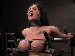 Bondage scene with busty fucking bitch