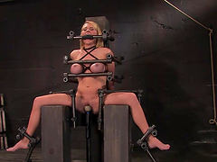 Bondage scene with busty blonde bitch