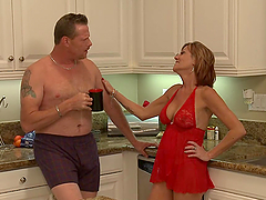 Dude fucks milf in the kitchen and gives her a facial!