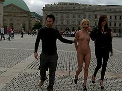 Bondage slut is fucked outdoors in public