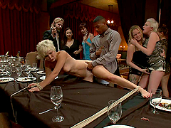Whore tied up and toyed with on dinner table