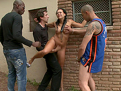 Tight brunette with pigails tied up and fucked outdoors