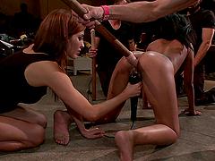 Ebony slut tied up and fucked hard in bondage scene