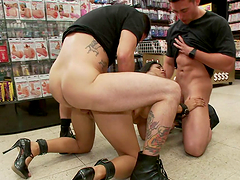 Tight brunette slut is fucked in public by some dudes