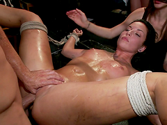 Brunette whore tied up and mega fucked in public