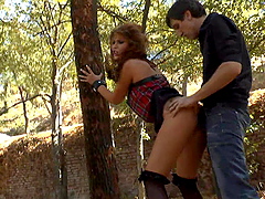 Rough sex in public with a horny mistress and a slave