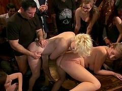 Public humiliation in bondage scene with hot sluts