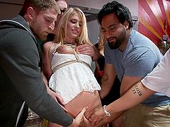 Bitch restrained and fucked in public bondage scene