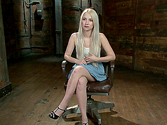 Cute blonde whore gangbanged in public