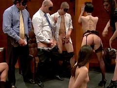 Dirty Asian slut sucks on multiple dicks in BDSM scene