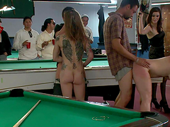 Bondage on a pool table with redhead slut