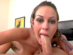 Slut goes deepthroat on a big motherfucking schlong!
