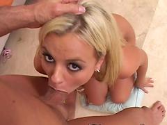 Blonde slut sucks on a hard dick and goes deepthroat