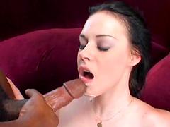 Hot brunette stuffed by big black cock