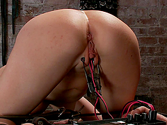 Blonde girl getting her pussy tortured and strapon fucked by brunette
