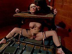 Lesbian femdom with pillory bondage and pussy licking fun