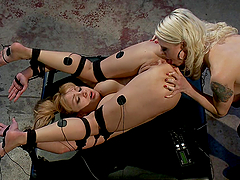 Blonde electro whore gets fucking shocked to orgasm