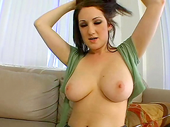 A brunette slut sucks on a hard dick and gets nailed