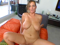 Cock-sucking bitch with big tits gets nailed