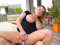 A blonde whore with big tits gets slammed