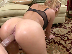 FFM threesome in the living room with two horny busty MILFs